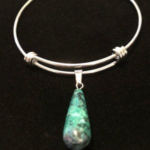 Jewelry - NWT Genuine Ruby Zoisite Charm Bangle Bracelet.